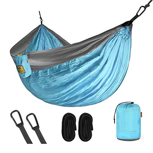 Wuzhengzhijia Embalaje Ultra pequeño Hamaca portátil Doble, Tela de paracaídas antivuelco 260x140 cm, Adecuado para mochilero, Camping, Viajes, Playa, etc. (Color : Blue, Size : 260 * 140cm)
