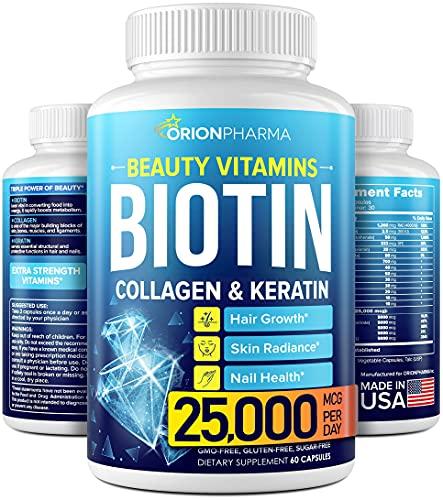 Biotin Keratin & Collagen Capsules - Made in USA - Natural Fish Collagen  Keratin & Biotin for Hair Growth - Biotin & Collagen Vitamins with Multi Collagen Peptides for Hair Loss  Skin & Nails