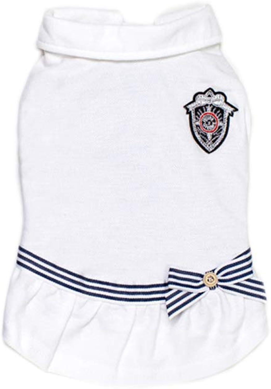 Cat Dog Dress Dog Maritime Uniform Clothes Princess White bluee Cotton Costume for Pets Women's Cute(M,White)