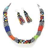 Viva Multicolor Corde Collier Boucles d'oreilles Africain Maasai Beadwork Perles Bijoux S31/5