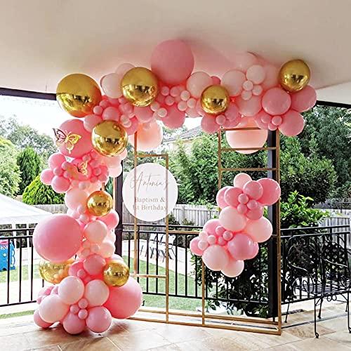 122 PCS Pink Globos Cumpleaños, Arco Para Globos, Decoraciones de la ducha de bebés, Decoraciones de compromiso para Fiesta de cumpleaños Boda Baby Baby Shower Graduación Decoraciones para el hogar
