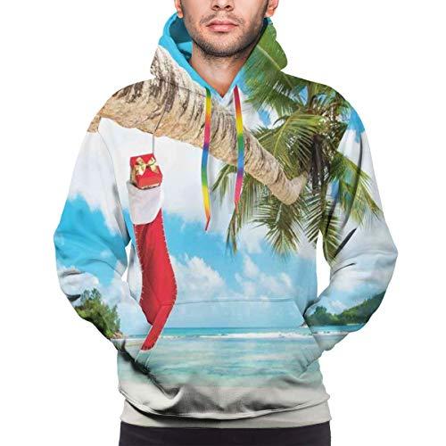 Men's Hoodies 3D Print Pullover Sweatershirt,Sock On The Palm Tree On Tropical Sandy Beach Island Maldives Festive Design,XXL