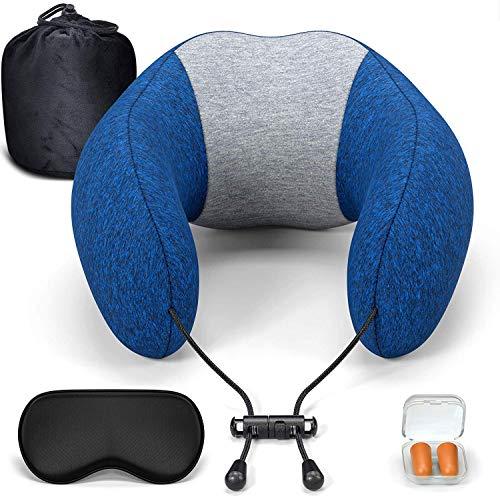 Jiu Tragbarer Reisekissen, Nackenkissen for Flugzeug-Reise 100% Pure Memory Foam Mit 3D Konturierte Augenmasken Bequem Und Atmungsaktiv 360 ° Head & Neck Support Jiu