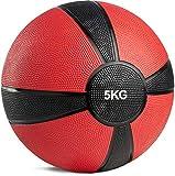 POWRX - Balón Medicinal 5 kg + PDF Workout (Rojo)