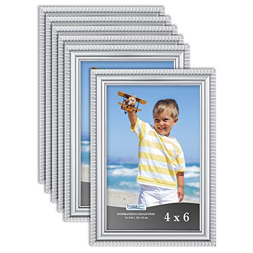 Icona Bay 4x6 Picture Frames (Silver, 6 Pack), Beautifully Detailed Molding, Contemporary Picture Frame Set, Wall Mount or Table Top, Inspirations Collection