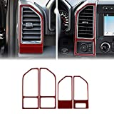 LANZMYAN Compatible with Air Vent Wind Outlet Sticker Carbon Fiber Dashboard Wind Outlet Frame Trim Cover Interior Accessories for Ford F150 2015 2016 2017 2018 2019 2020 Red 4PCS