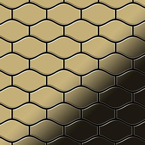 Mozaïektegels massief metaal titaan Gold hoogglanzend goud 1,6 mm dik ALLOY Karma-Ti-GM ontworpen door Karim Rashid