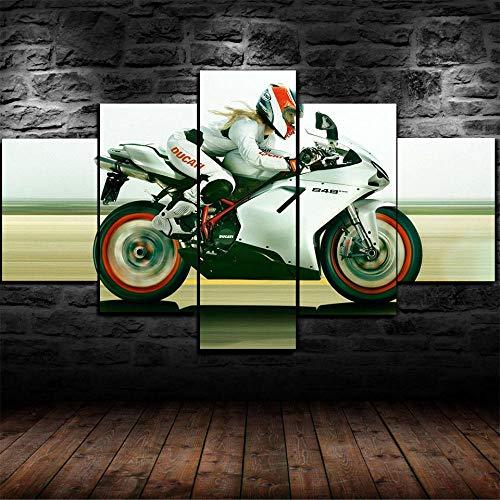 Décoration Murale 5 Parties Impression Photo sur Toile-XXL Impression sur Toile 5 Panneaux Murale Photo Image Artistique Photographie Graphique Noël Cadeau 150X80Cm Vélo De Sport Ducat 848 pour Fille
