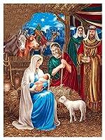 大人のための数字によるDIYの絵画キッズ初心者の初心者の絵画でキャンバスのキットで描く数字キットクリスマス家の装飾 - 母子 (色 : Goddess, Size : 50x60cm)