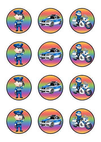 Muffinaufleger Cupcakes Muffins Kindergeburtstag Polizei Polizist P01 (Zuckerpapier)