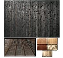 LucaHome – Alfombra bambú Uganda Ideal para Interior o Exterior, Alfombra bambú para Cocina, salón, despacho, Dormitorio con Cenefa, Alfombra de bambú Antideslizante (Dark Grey, 80x150cm)