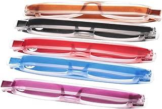 SOOLALA Best Gifts 5-Pairs 360 Rotating Tube Pen Clip Folding Reading Glasses