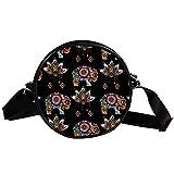 Bolso cruzado redondo pequeño para mujer, de moda, bandolera, bolso bandolera, bolso de lona, accesorios para mujer, diseño de elefante étnico de loto vintage
