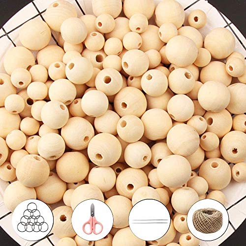ZesNice 660 Pieces Wooden Beads Set for Crafts, Natural Round Beads for Jewellery Making and Macrame Garland Decor with Large Hole, with Jute Twine, Keychains, Threaders and Scissors