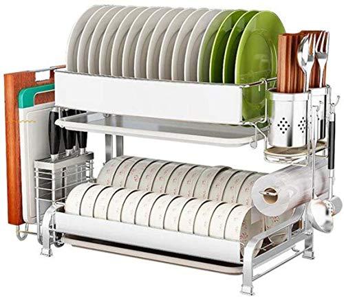 Estante de acero inoxidable 304 para colgar en la pared, vajilla, platos, platos, platos, caja de almacenamiento, estante de cocina, 2 capas, utensilios de cocina (tamaño: 54 x 30 x 46 cm)