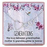 Rarelove - Collar con colgante de tres corazones entrelazados de plata de ley 925 para abuela, madre, nieta y abuela, con cadena ajustable de 40 a 53 cm de largo