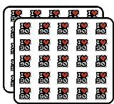 I Love 90 90's Heart Car Sticker for Scrapbooking, Calendars, Arts, Kids DIY Crafts, Album, Bullet Journals 50 Pack