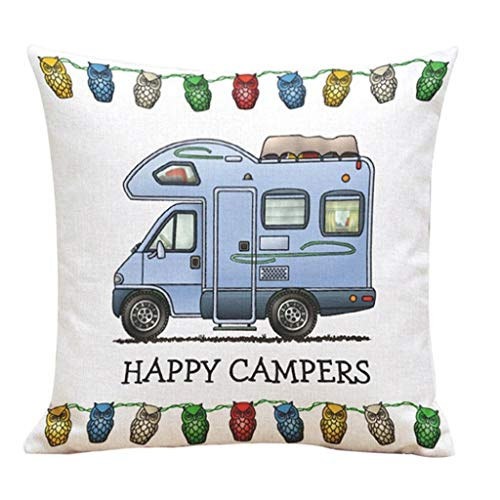 """Vektenxi Happy Campers Throw Pillow Case Sofa Bed Decorative Cushion Cover 18 * 18"""" F Durable and Useful"""