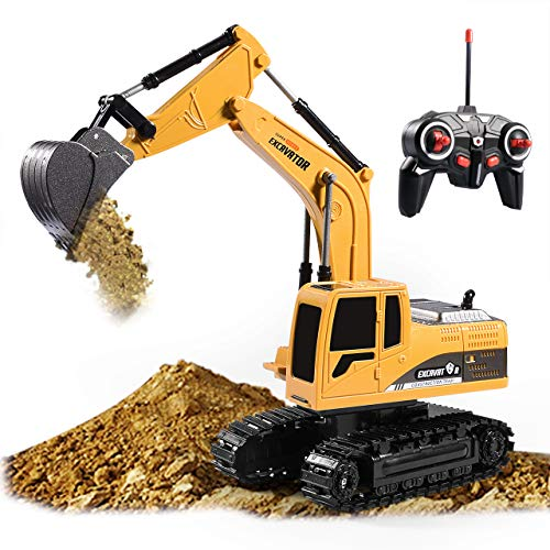 AHUA Excavator Toy Remote Control Excavator RC Truck Toy6 Channel Rechargeable RC Truck with Lights Sounds1/24 Scale RC Excavator Construction Vehicles Gifts for Boys Girls