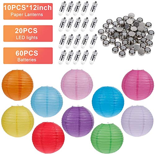 Vastar 10 Packs Colorful Round Paper Lanterns for Wedding Party Decorations (12 Inch), 20 Packs White LED Party Lights and Extra 60 LED light Batteries