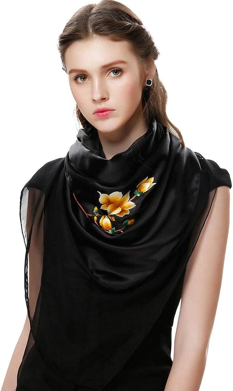 Stoles Shawl Silk Embroidered Silk Scarf Spring and Autumn Thin Scarf Ladies Shawl Magnolia Scarf Beautiful Shawl (color   Black, Size   200  60cm)