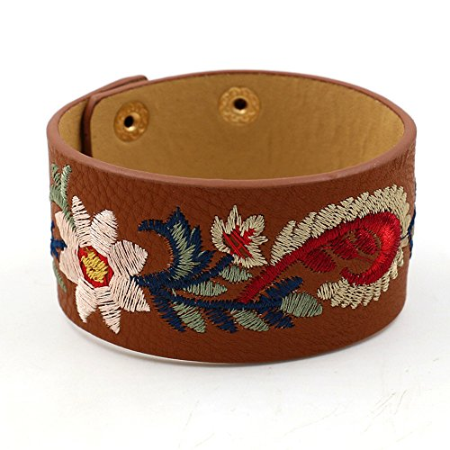 Coiris Women PU Leather Wide Wrap Bracelet Embroidered Flower Punk Adjustable Size (BR1177-Coffee)