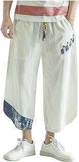Linen TrousersMen New Summer Loose Causal Wide Leg Lantern Cropped Pants - Limsea