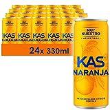 KAS Naranja 330ml - Refresco con Sabor - Lata - Pack de 24