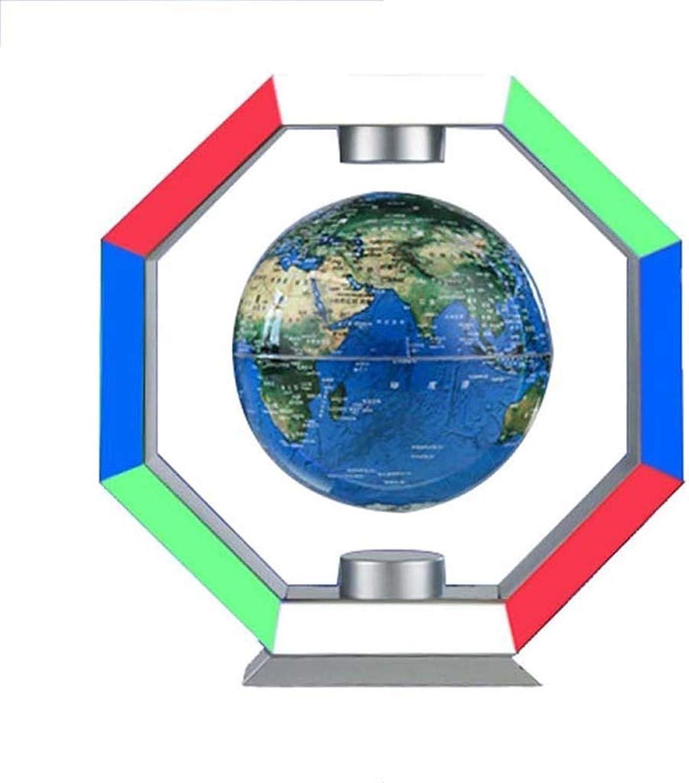 Desktop Globus HJCA Magnetic Floating Suspended Desktop Globe - Mit LED-Lichtern 360 Rotierender Anti-Schwerkraft-Globus Home Desktop Decoration Ornaments - Blau Lernutensilien, büro dekoration, handw