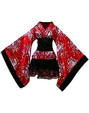 Fenical Kadın kiraz çiçeği animasyon Cosplay elbise Japon kimono kostüm elbise elbise beden L (kırmızı)