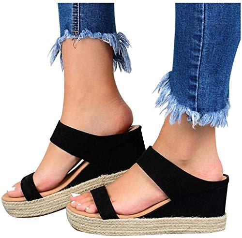 LONG-M Sandalias De Estilo Universitario para Mujer, Zapatos Informales De Tacón Bajo con Cuña, Cuero De Moda, Novedad De Verano De 2021,Negro,43