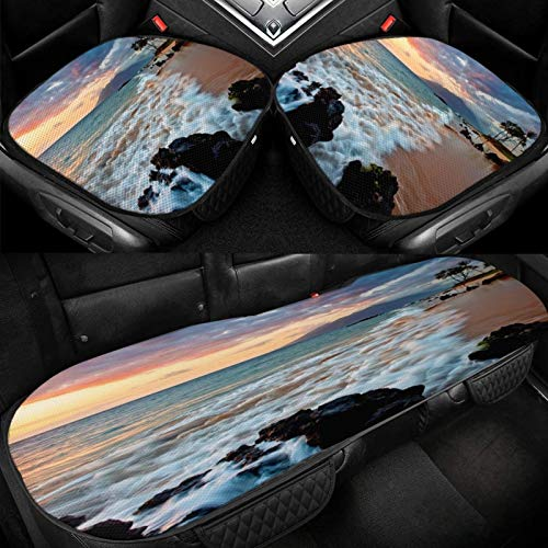 Yuniker Beach Maui Hawaii Beautiful Sunset Car Ice Cushion Universal Car Seat Protector Soft Cool Bottom Seat Covers 3 Pcs Non-Slip Cushion Mats for Car Truck SUV Van Mpv