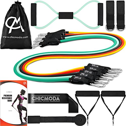 CHICMODA 14pc Resistance Bands Set Exercise Bands with 5 Tube Bands, Door Anchor, Ankle Straps, Handles, Stretch Loop Band, and Carry Bag for Home Gym Workouts, Physical Therapy, Weight Training