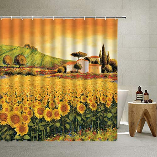 Sunflower Shower Curtain,Retro Cuntry Autumn Oil Painting Rural Flower Field Farmhouse Natural Landscape, Cloth Fabric Bathroom Decor Set with Hooks,Orange Green,90x71 Inch