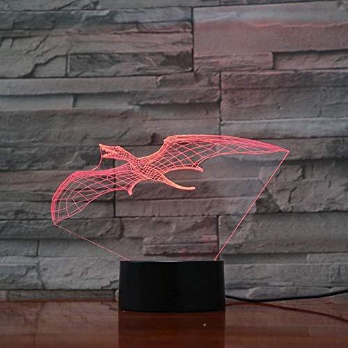 Vliegende draak 3D illusie lamp nachtlampje tafellamp, 7 kleuren auto wijzigen touch schakelaar bureau decoratie bedlampje met afstandsbediening voor kinderen Kerstmis verjaardagscadeau