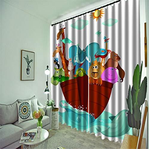 FACWAWF Inicio Patrón De Dibujos Animados 3D Material De Poliéster Dormitorio Estudio Ventana De Bahía Cortina 184x160cm(2pcs)