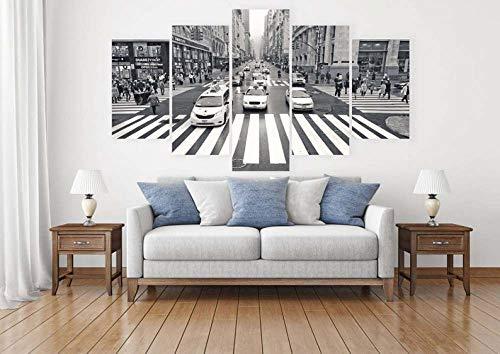 TOPRUN 5 Piezas Cuadro sobre Lienzo De Fotos Nueva York, Calle Negro...