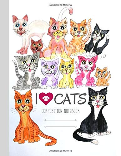 I Love Cats Quad Ruled Composition Notebook: Large Graph Paper Watercolor Cat Cute Journal (Hilarious Cats, Band 32020)
