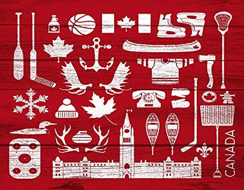 TISAGUER 5D Diamante Pintura por Número Kit,Enorme colección de canadienses estereotipados en tablero de granero Este grupo contiene palos de hockey Hachas Astas,Bricolaje Diamond Painting kit