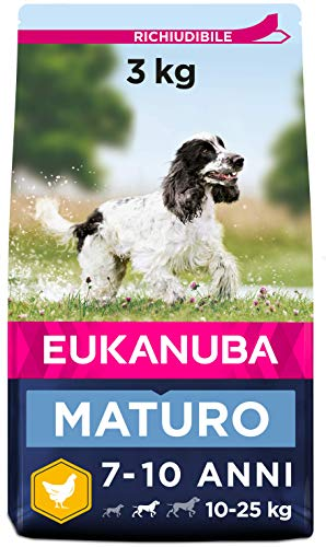 Eukanuba Alimento Secco per Cani Maturi di Taglia Media, Ricco di Pollo Fresco 3 kg