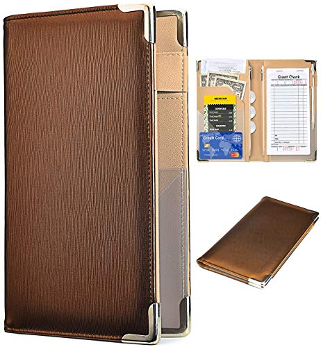 """Server Books for Waitress - 5""""x9"""" Ripple Leather 10 Pockets Waiter Book Server Wallet Includes Zipper Pouch with Pen Holder, Cute Waitress Book&Waitstaff Organizer with Money Pocket Fit Server Apron(Ripple Brown)"""