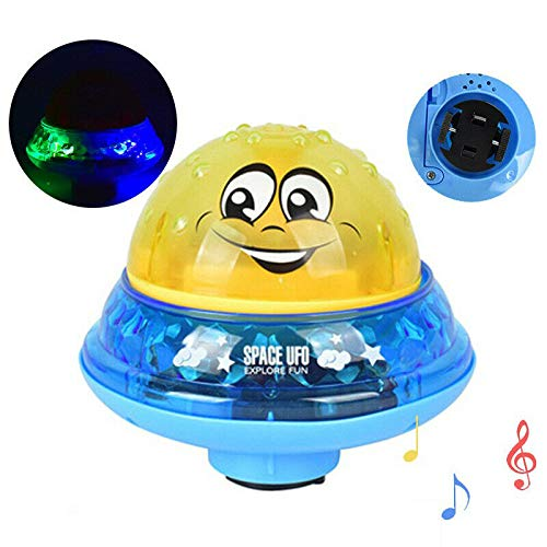 2 in 1 Induction Spray Water Toy & Space UFO Car Toys with LED Light Musical Fountain Toy Automatic Induction Sprinkler Bath Toy Bathtub for Baby Gift with Color Package