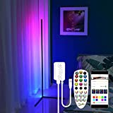 Led Floor Lamp 61'' RGB-IC Color Changing LED Corner Lamp with APP and Remote Control, Music Sync, Scene and Timer Switch Mode, Atmosphere Corner Lamp for Living Room Bedroom with Premium LEDs - Black