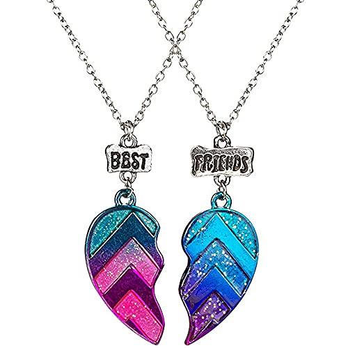 2 unidades BFF collar de corazón pulsera de medio corazón exquisito colgante de medio corazón clavícula collar de cadena ideal para mujeres adolescentes y niñas Bestfriends regalo de amistad