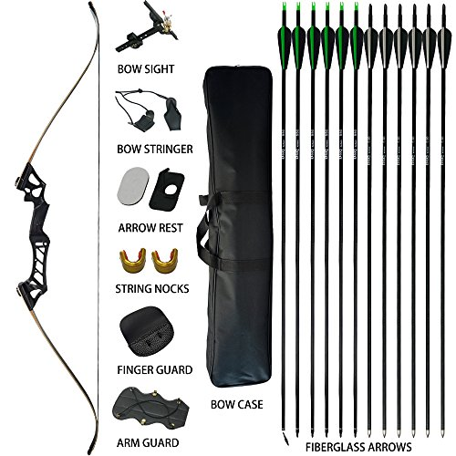 D&Q Takedown Recurve Bow and Arrow for Adults Kit 30 35 40 45 50 55 60lb Aluminum Alloy Riser Hunting Shooting Practice Competition Archery Longbow Set with Bow Case Right Hand