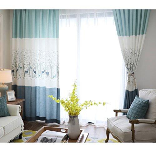 Gordijnen met Love Deer patroon halfschaduw vloergordijnen slaapkamer verduistering voorgefabriceerd oogje verduisteringsgordijnen voor de woonkamer met twee bijpassende Tie Backs 2 platen