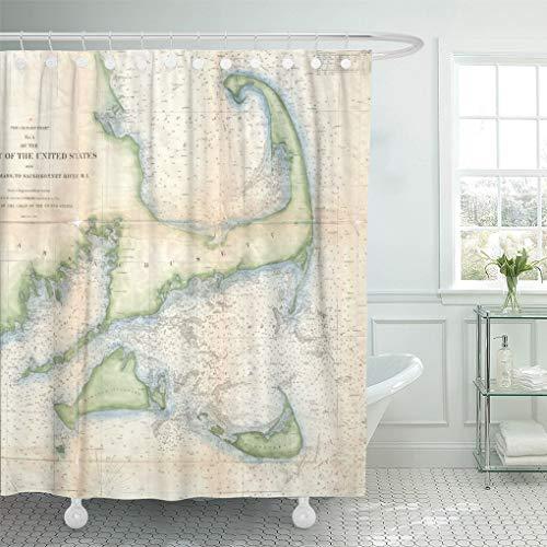 "Semtomn Shower Curtain Old Vintage Map of Cape Cod Historical Coastal Retro 72""x72"" Home Decor Waterproof Bath Bathroom Curtains Set with Hooks"