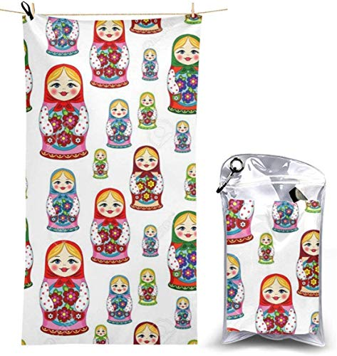 Microfibre Beach Towel Extra Large - 130cm x 70cm Quick Dry XL Lightweight Towel with Easy Zip Bag - Perfect for Beach, Travel, Yoga, Sports, Gym, Swimming & Camping - Russian Doll