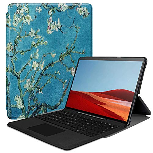 HoYiXi Cover Case for Surface Pro X Slim PU Leather Case with Stand Function Full Protective Flip Cover for Surface Pro X - Flower New Hampshire