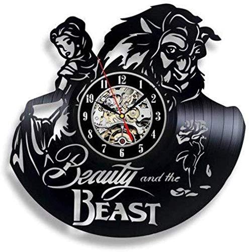 Reloj de pared de vinilo con diseño de león y belleza, reloj de pared moderno para decoración del hogar con personalidad retro para sala de estar, regalo hecho a mano, 30 cm de diámetro